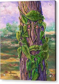 Tree With A Leaf Face Landscape Art Acrylic Print