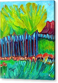 Trees And Meadow Acrylic Print by Betty Pieper