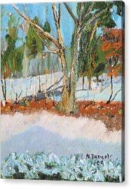 Trees And Snow Plein Air Acrylic Print