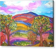 Trees And The Mountain Acrylic Print