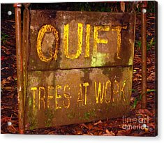 Trees At Work Acrylic Print by Christine Stack