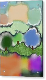 Trees Between Land And Sky Acrylic Print by Lenore Senior