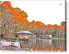 Trees By The Lake Acrylic Print by Lorna Maza