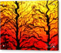 Trees Dancing At Sunset Acrylic Print by Lorraine Heath