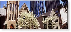 Trees In Front Of A Building Acrylic Print by Panoramic Images