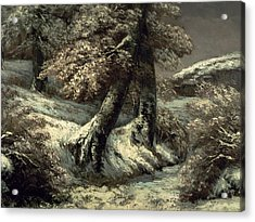 Trees In The Snow Acrylic Print by Gustave Courbet