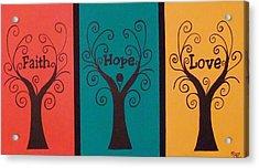 Trees Of Faith Hope Love Triptic Acrylic Print by Cindy Micklos