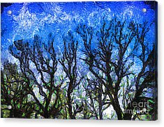 Trees On Blue Night Sky Digital Painting Artwork Acrylic Print by Amy Cicconi