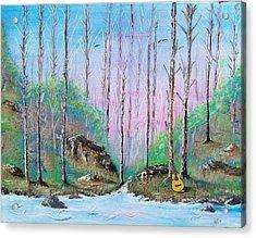 Trees With Cuatro Acrylic Print by Tony Rodriguez