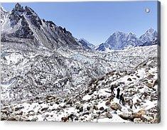 Trekkers En Route To Everest Base Camp In The Everest Region Of Nepal Acrylic Print by Robert Preston
