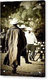 Trenchcoat Cowboy Acrylic Print by Trish Mistric