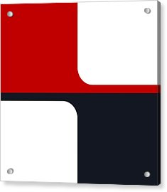 Acrylic Print featuring the digital art Trendy White Red And Navy Graphic Color Blocks by Tracie Kaska