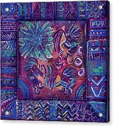 Tres Amigos Kokopellis Acrylic Print by Anne-Elizabeth Whiteway
