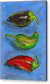 Tres Peppers Acrylic Print by Julie Maas