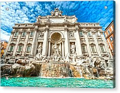 Trevi Fountain - Rome Acrylic Print by Luciano Mortula