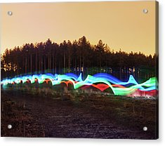 Tri-colour Light Trail In Heath Acrylic Print by Tim Robberts