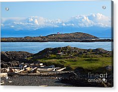 Trial Island And The Strait Of Juan De Fuca Acrylic Print by Louise Heusinkveld