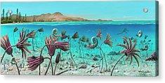 Triassic Land And Marine Life Acrylic Print by Richard Bizley