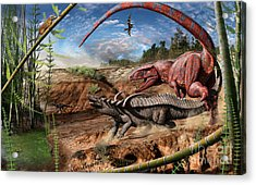 Triassic Mural 2 Acrylic Print by Julius Csotonyi