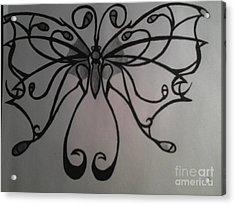 Tribal Butterflly Acrylic Print by K Kagutsuchi Designs