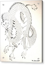 Acrylic Print featuring the drawing Tribal Dragon by Wendy Coulson