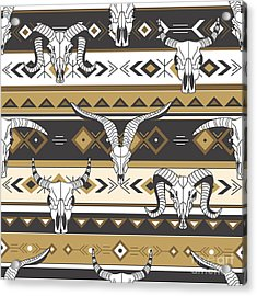 Tribal Seamless Pattern With Skulls Of Acrylic Print