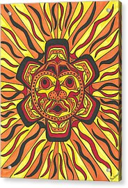 Acrylic Print featuring the painting Tribal Sunface Mask by Susie Weber