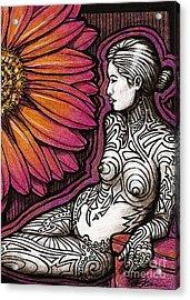 Tribal Tat Nude Acrylic Print by Dorinda K Skains