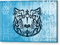 Tribal Tattoo Design Illustration Poster Of Snow Leopard Acrylic Print by Sassan Filsoof