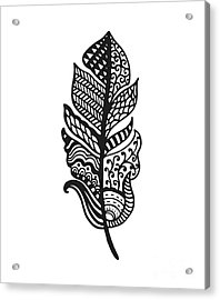 Tribal Vector Feather. Hand Drawn Acrylic Print by Qilli