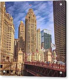 Tribune Tower And Dusable Bridge In Acrylic Print