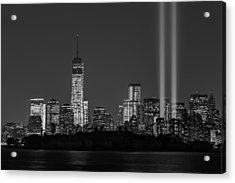 Tribute In Light 2013 Bw Acrylic Print by Susan Candelario