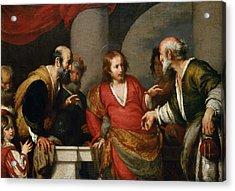 Tribute Money, C.1631 Oil On Canvas Acrylic Print by Bernardo Strozzi