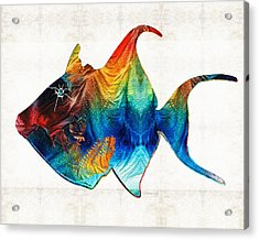 Trigger Happy Fish Art By Sharon Cummings Acrylic Print by Sharon Cummings