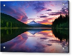 Trillium Lake Sunrise Acrylic Print by Darren  White