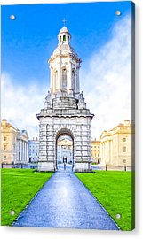 Acrylic Print featuring the photograph Trinity College Campanille - Dublin Ireland by Mark E Tisdale