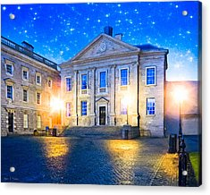 Trinity College Dining Hall At Night Acrylic Print by Mark E Tisdale