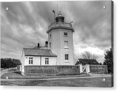 Trinity House Lighthouse Bw Acrylic Print by David French