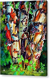 Acrylic Print featuring the painting Trio Birch 2014 by Kathy Braud