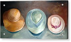 Acrylic Print featuring the painting Trio Of Hats - Original Sold by Therese Alcorn