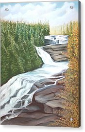 Acrylic Print featuring the pastel Triple Falls by Stacy C Bottoms