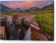 Triple Falls Sunset Acrylic Print