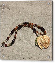 Triple Leaf Costume Brooch Pendant Necklace 3637 Acrylic Print by Teresa Mucha