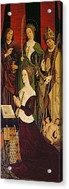 Triptych Of Moses And The Burning Bush, Right Panel Depicting Jeanne De Laval D.1498 With St. John Acrylic Print