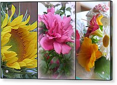 Triptych Of Summer Florals Acrylic Print by Kay Novy