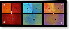 Triptych Red Cyan Purple - Colorful Rust Acrylic Print