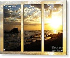 Triptych Rock On Gold Acrylic Print by Stav Stavit Zagron