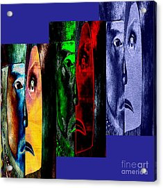 Acrylic Print featuring the digital art Triptychon Paerchen II - Triptych Couple II by Mojo Mendiola