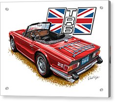 Triumph Tr-6 Red Wire Wheels Acrylic Print