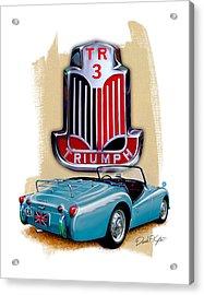 Triumph Tr_3 Sports Car In Blue Acrylic Print